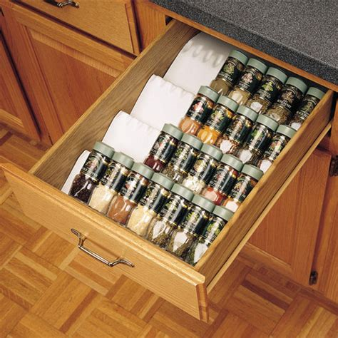 Kitchen Cabinet Drawer Accessories Drawer Organizers Trimmable Drawer Spice Tray By Rev A Shelf Cabinet Accessories Unlimited