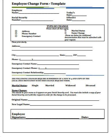 employee change form template 11 sle employee forms sle templates