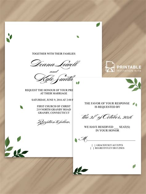 pressed leaves invitation and rsvp free pdf templates