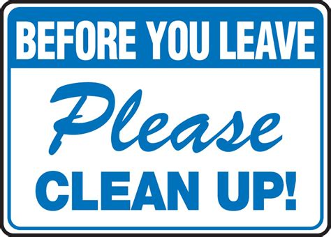 clean up before you leave clean up aid and safety supplies pictureicon