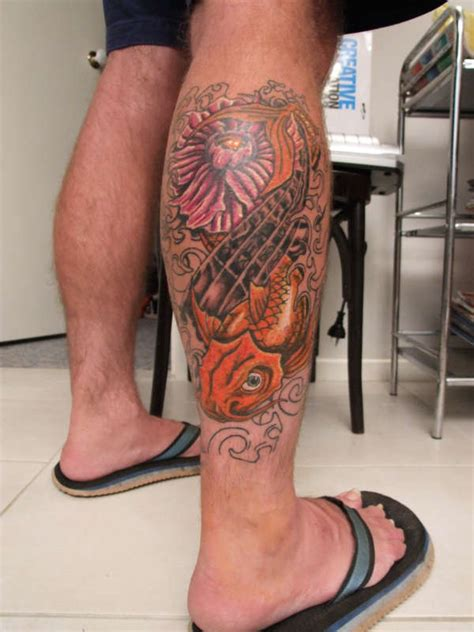 koi fish leg tattoo designs koi fish leg