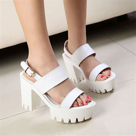 high heels thick new style back open toe platform thick high