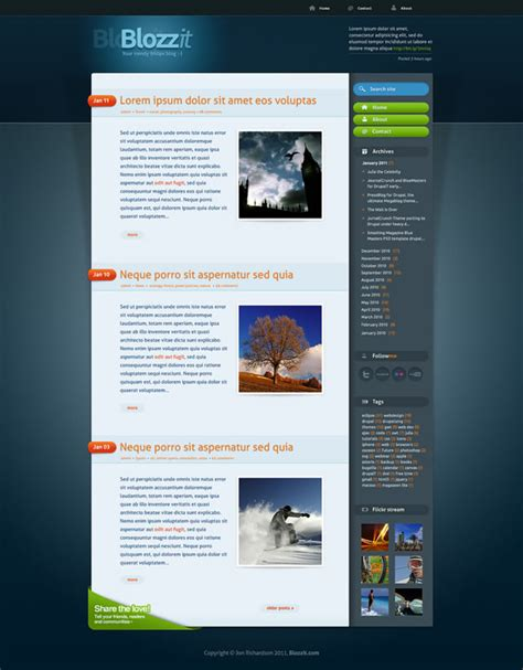 homepage template html freebie blozzit a free professional html css web