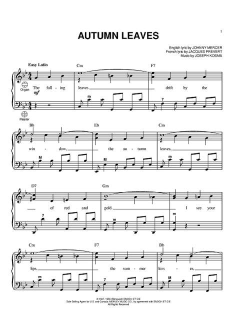 tutorial piano autumn leaves autumn leaves sheet music piano
