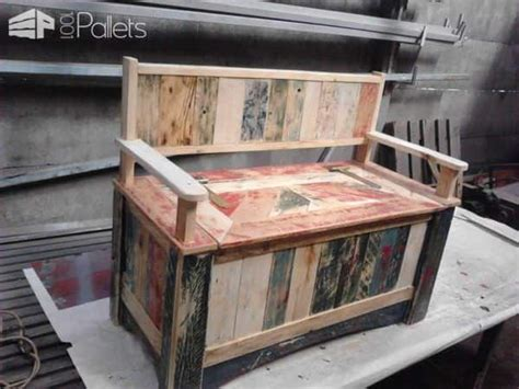 beautiful pallet storage bench  pallets