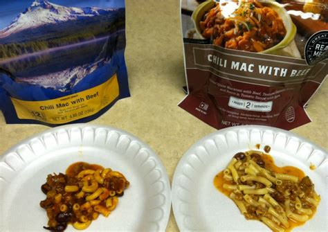 mountain house food wise food vs mountain house taste test chili mac with beef