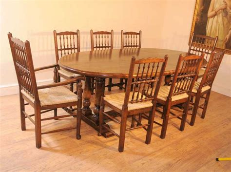 Oak Kitchen Table Set Oak Kitchen Refectory Table Dining Set Spindleback Chairs Antique Dining Tables