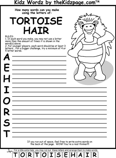pages printable activities tortoise with hair activity page free coloring pages for