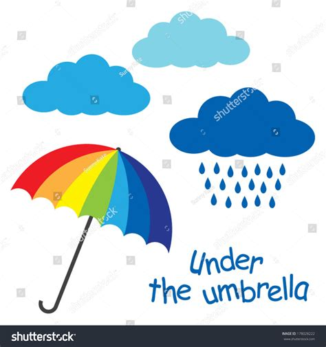 rainbow colors umbrella clouds rain text under an umbrella