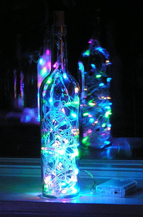 lights inside clear wine bottle light with multi colored pastel led