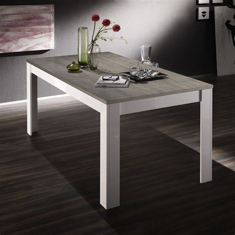 table blanc et bois table manger blanc laqu et bois gris moderne esmeralda 2