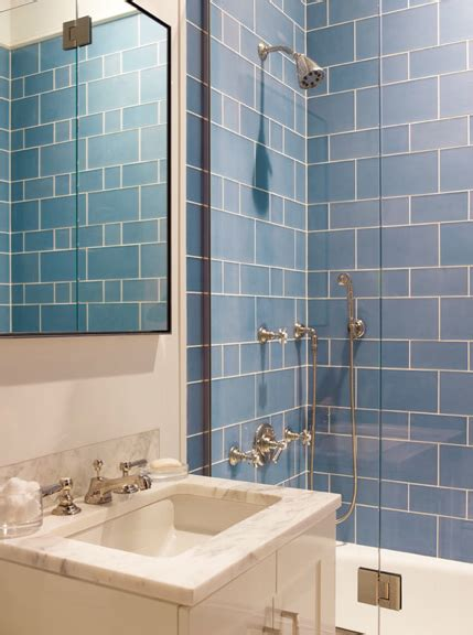 Blue Tile Bathroom Ideas Blue Shower Tiles Contemporary Bathroom Mendelson