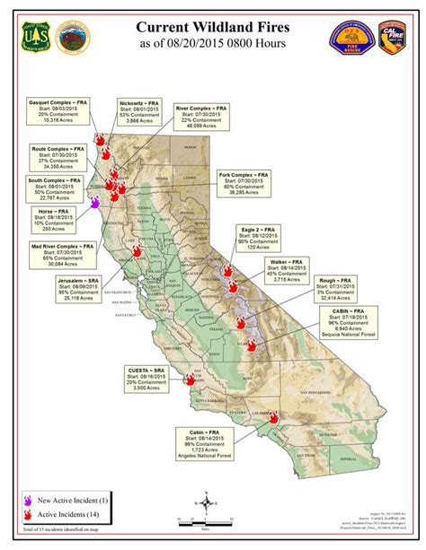 map of current wildfires cal thursday morning august 20 2015 report on