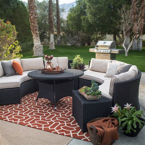 sofa sectional patio dining set belham living meridian 5 all weather wicker sofa