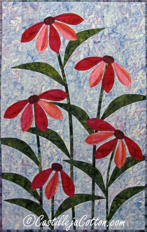 flower pattern quilt applique flower art quilt 4547 0 cone flower wall hanging