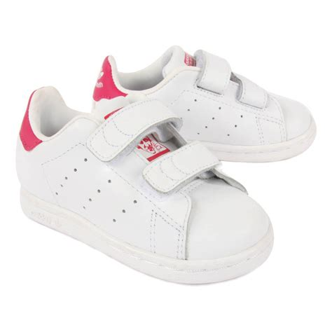 stan smith pink velcro trainers pink adidas shoes baby children