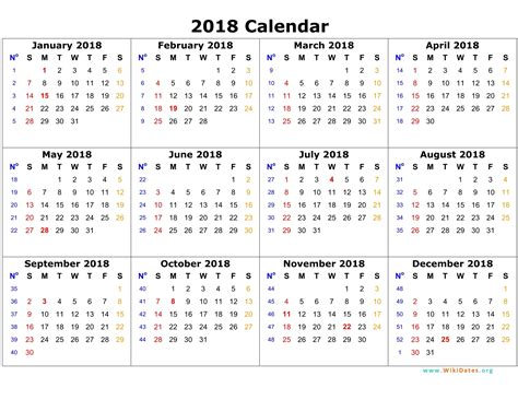 2018 Calendar Year Yearly Calendar 2018 Weekly Calendar Template