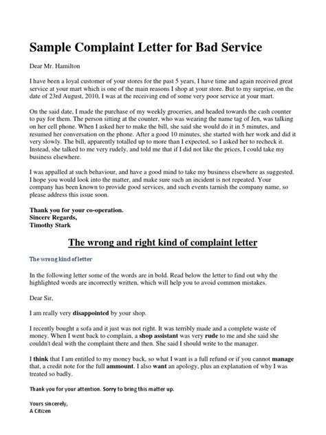 Bad Customer Service Letter Exles Sle Complaint Letter For Bad Service
