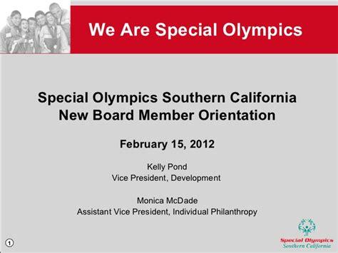 board member orientation agenda special olympics southern california board orientation