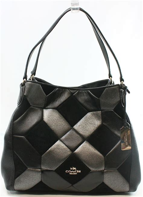 Coachs Colorful New Patchwork Satchel by Coach New Black Leather Suede Patchwork Edie Shoulder Bag