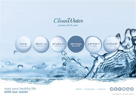 water template clean water premium fresh water html5 template on behance