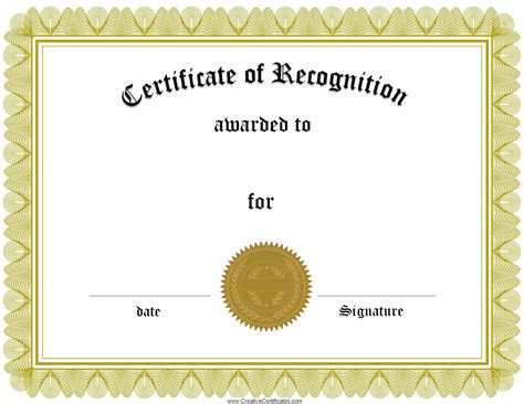 Free Printable Templates For Certificates Of Recognition free certificate of recognition template customize
