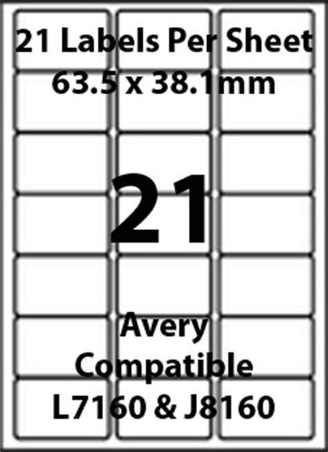 label template 21 per sheet avery l7160 compatible inkjet laser 21 blank address