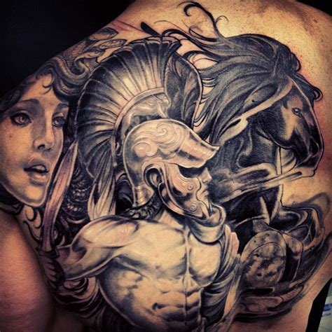 back shoulder black and grey spartan warrior tattoo