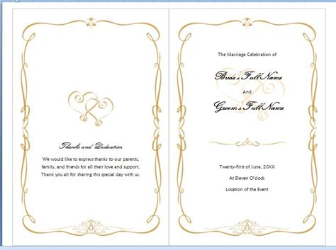 wedding programme template word microsoft word program template invitation template