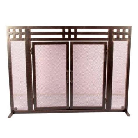 fireplace screen home depot layton rubbed bronze single panel fireplace screen ds