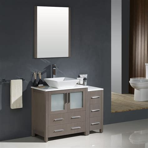 done in a weekend bathroom refreshes vanities cabinets and striped walls fresca torino 42 quot gray oak modern bathroom vanity w side