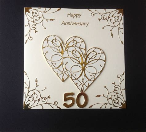 Handmade Golden Wedding Cards - handmade golden wedding anniversary card 50th wedding