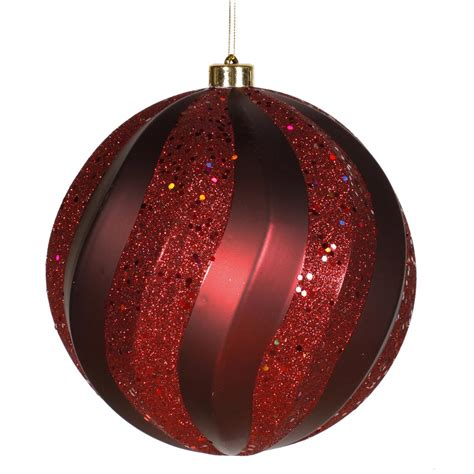 8 inch matte glitter swirl christmas ball ornament