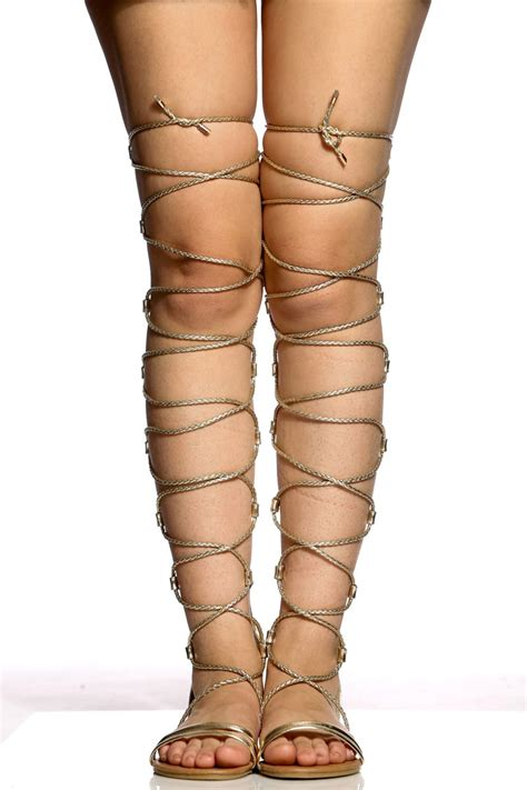 thigh high sandal boots gold faux leather lace up thigh high sandals cicihot