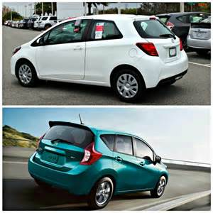 Toyota Compact Cars Toyota Yaris Compared To The Nissan Versa And Honda Fit