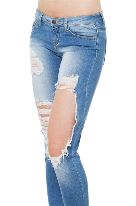 light blue distressed jeans lyst akira at ease distressed skinny jeans light blue