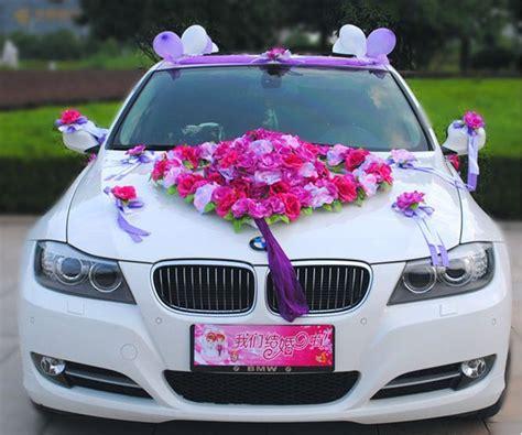 flower festooned vehicle wedding car decoration kit korean