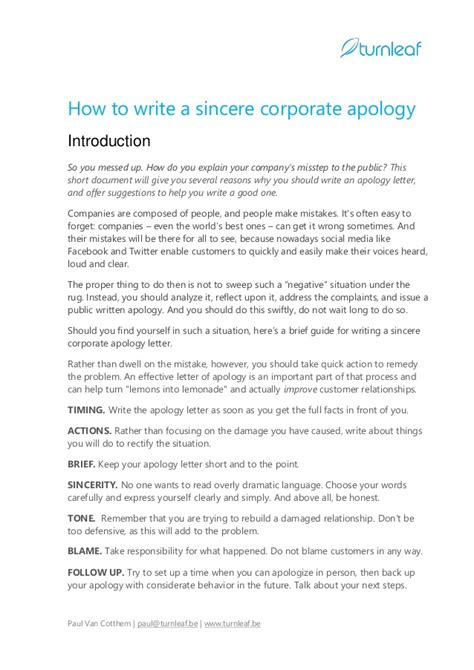 Apology Letter In 10 Tips For Writing A Corporate Apology Letter