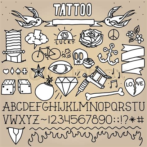 tattoo fonts pack school objects monochrome vector pack stock