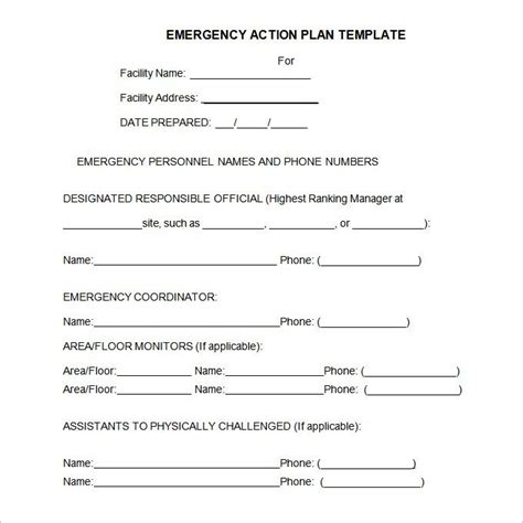 occupant emergency plan template plan template