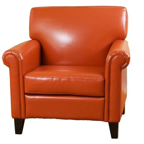 canton burnt orange leather club chair furniturendecor