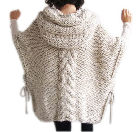 knitting pattern poncho with sleeves this poncho is knit with cable knit pattern it is