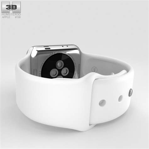 Applewatch Sport Series 2 38 Mm apple series 2 38mm stainless steel white sport band 3d model hum3d
