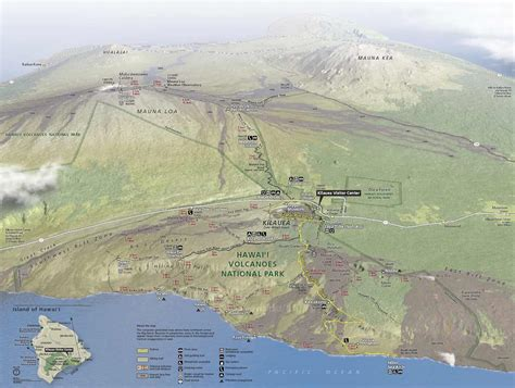 volcanoes in hawaii map getting to hawaii volcanoes national parked