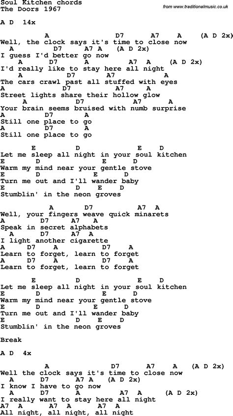 Soul Kitchen Lyrics song lyrics with guitar chords for soul kitchen