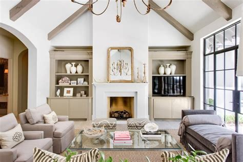 Vaulted Ceiling Fireplace Ideas by Living Room Built Ins Transitional Living Room Flanigan Interiors