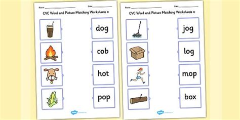 matching cvc words to pictures worksheets cvc word and picture matching worksheets o cvc matching o