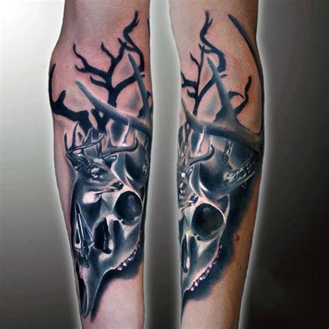deer skull tattoo designs 50 archery tattoos for bow and arrow designs