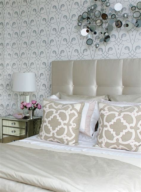 metallic bedroom wallpaper tufted pink headboard with silver frame design ideas
