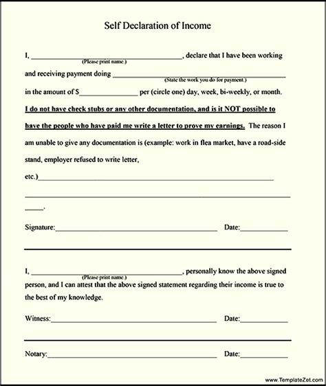 sle of declaration form exle of a formal declaration letter free sle self
